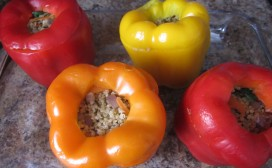 Fill mixture equally into peppers